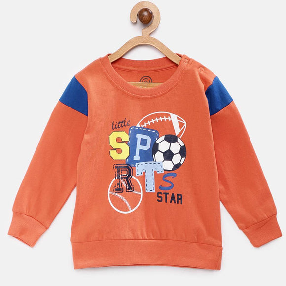 Stylish Cotton Printed Orange Full Sleeves Round Neck T-shirt For Boys