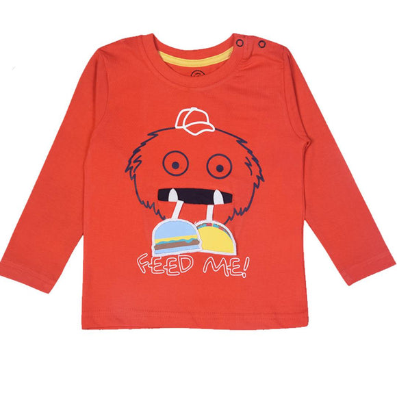 Stylish Cotton Embroidered Orange Full Sleeves Round Neck T-shirt For Boys