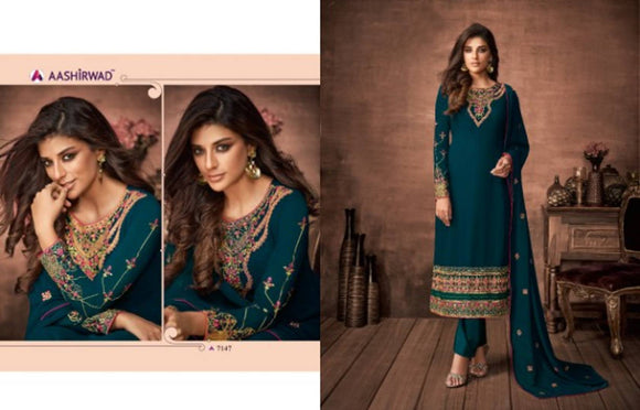 Wedding Wear Heavy Embroidered Worked Faux Georgette Straight Salwar Suit