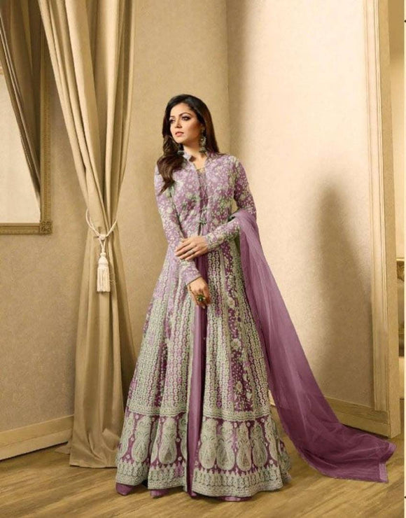 Alluring Purple Soft Net Embroidered Women Gown Bottom Set With Dupatta