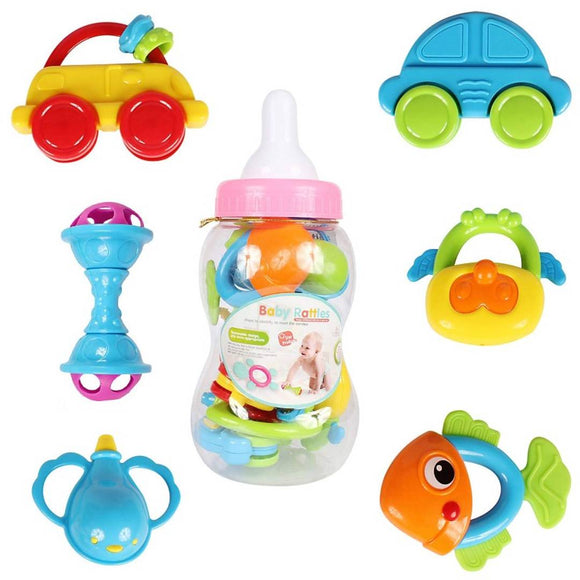 Planet of Toys Boys and Girls 8 Pieces Newborn Toddler Baby Teether Rattle Play Gift Set for Kids