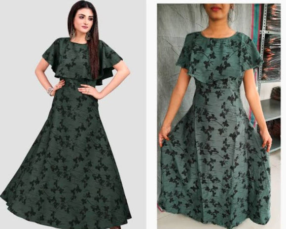 Elite Olive  American Crepe Digital Print Maxi Full Length Gown For Women