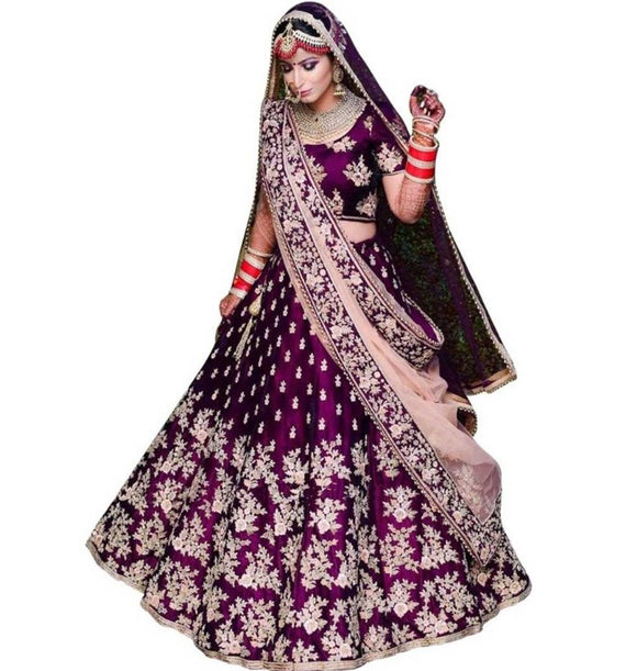 Taffeta Satin Embroidery Lehenga Choli With Dupatta