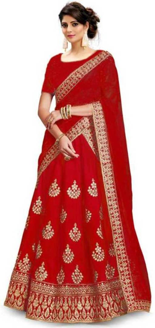 Attractive Art Silk Embroidered Semi Stitched Lehenga Choli