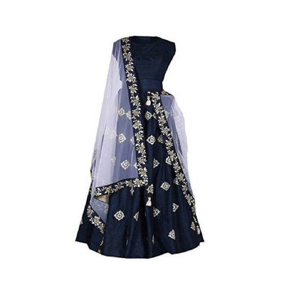 Taffeta Satin Embroidery Lehenga Choli For Women's