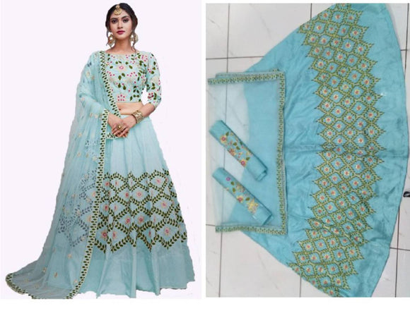 Stunning Blue Silk Embroidered  Lehenga Choli Set with Dupatta For Women