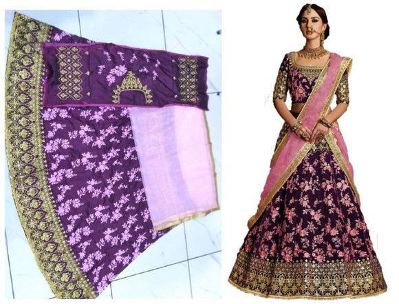 Stunning Purple Silk Embroidered  Lehenga Choli Set with Dupatta For Women
