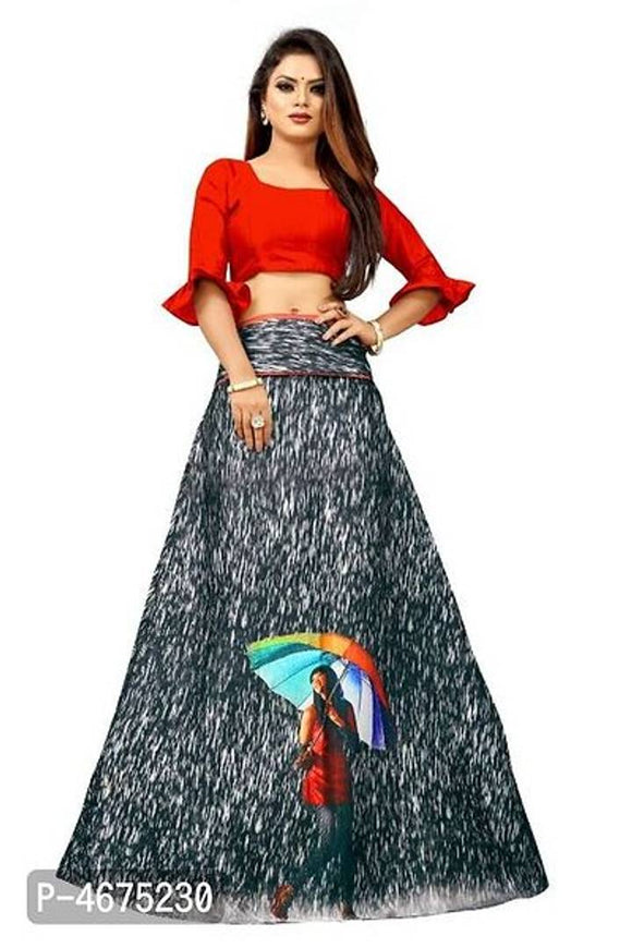 Attractive Art Silk Printed Semi Stitched Lehenga Choli