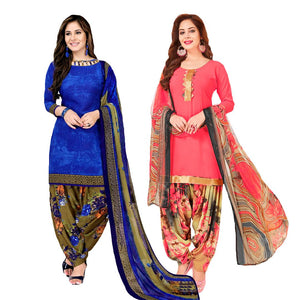 Women Crepe Solid Salwar Suit Material Combo of 2