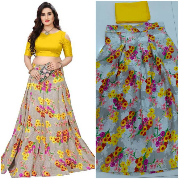 Fashionable Yellow Satin Printed Lehenga Choli Set For Women