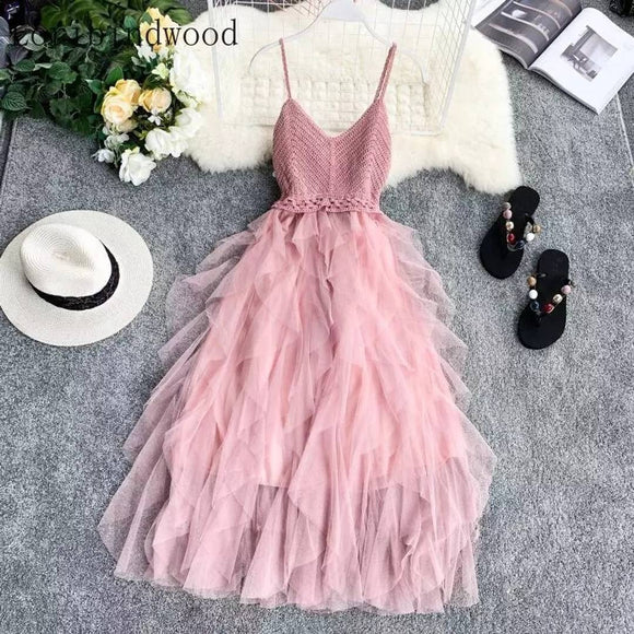 Women Mesh Dress Top Selling Trending Pink Dress