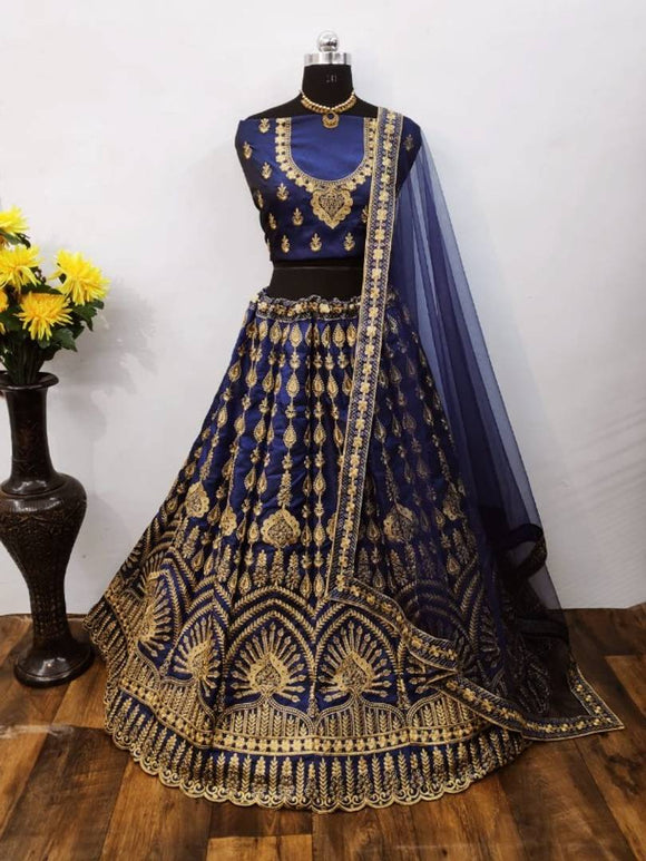 Women Taffeta Silk Embroidered Lehenga Choli