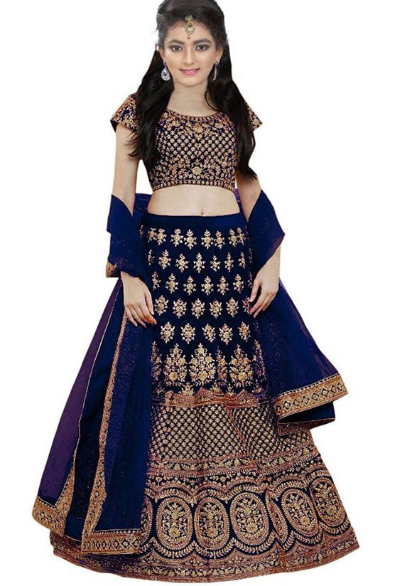 Kids Navy Blue Silk Embroidered Lehenga Choli with Dupatta