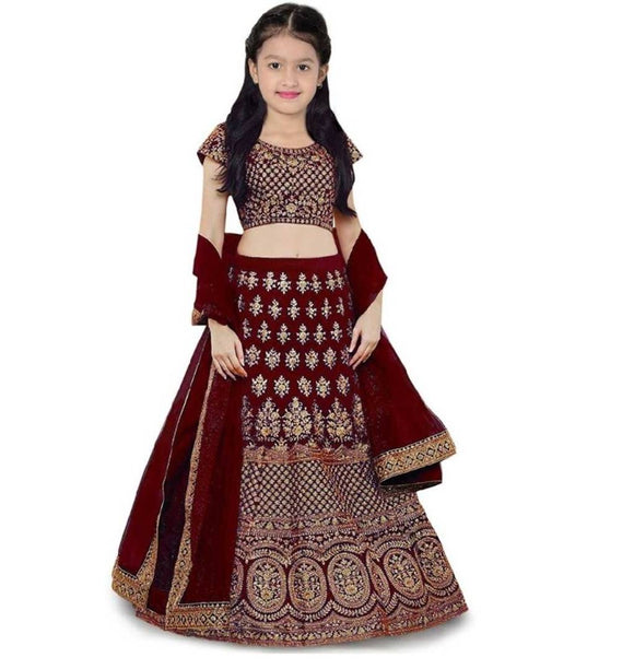 Kids Maroon Silk Embroidered Lehenga Choli with Dupatta