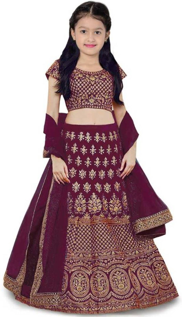 Kids Purple Silk Embroidered Lehenga Choli with Dupatta