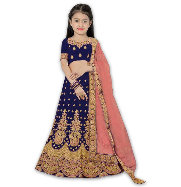 Kids Blue Silk Embroidered Lehenga Choli with Dupatta