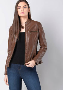 Women's Solid Brown Synthetic Leather Jackets