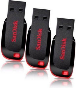 SanDisk Cruzer Blade USB Flash Drive (BLACK & RED) - 3Pc 8 GB Pen Drive  (Black) - 10solo.com