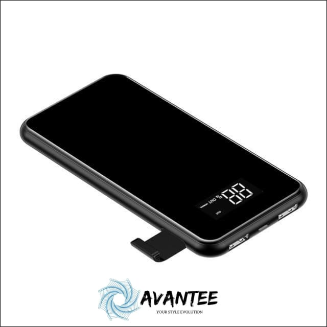 2-in-1 Baseus 2A Dual USB Power Bank & LCD 8000mAh QI Wireless Charger - China / Black