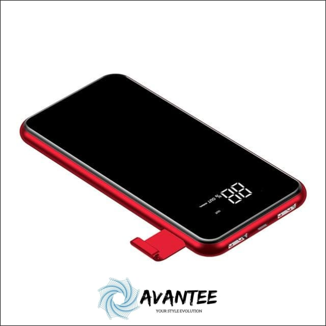 2-in-1 Baseus 2A Dual USB Power Bank & LCD 8000mAh QI Wireless Charger - China / Red