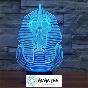 3D Illusion LED Night Light 7 Color Pharaoh Decoration with Touch Switch USB Cable Nice - Decorative Gadget