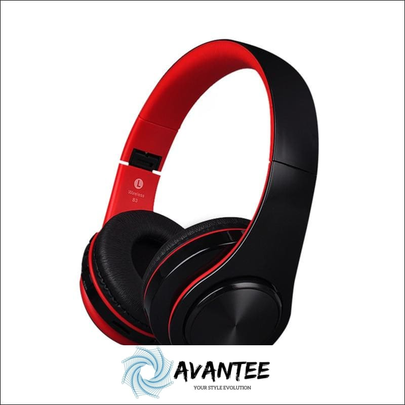B3 Foldable Stereo Bluetooth Headphones with TF Slot - Black and Red - Headphones