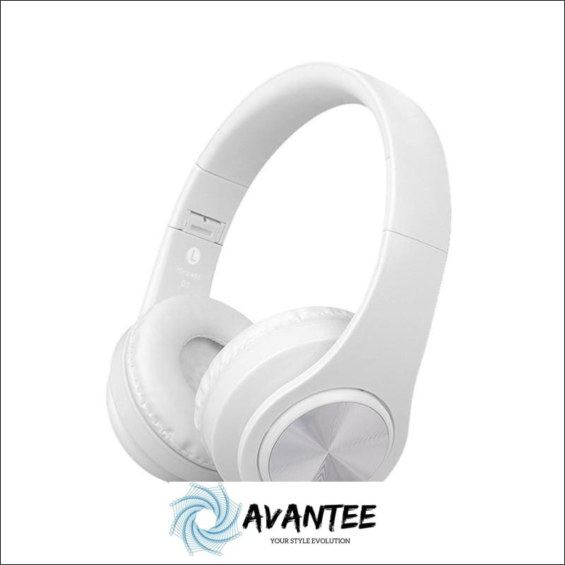 B3 Foldable Stereo Bluetooth Headphones with TF Slot - White - Headphones