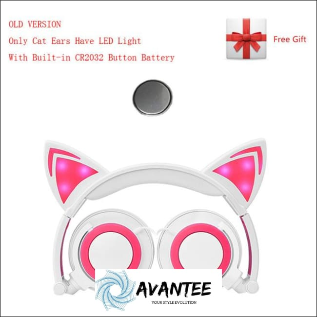 Cat Ear Led Headphones - A White Pink / China - Headphones
