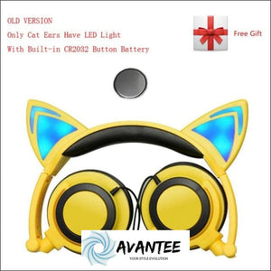 Cat Ear Led Headphones - A Yellow / China - Headphones