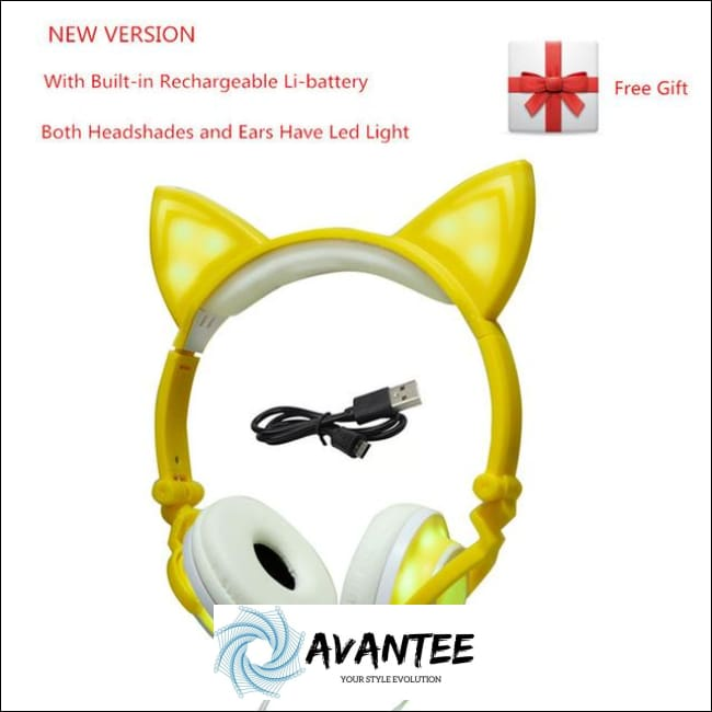 Cat Ear Led Headphones - B Yellow / China - Headphones
