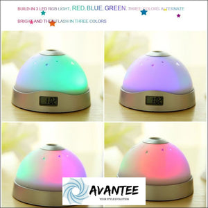 Home Decor Colorful Sky Star Children Baby Room Night Light Projector Lamp Alarm Clock Sleeping - Decorative Gadget