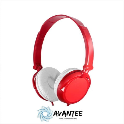 Lightweight Foldable Headphones With Mic - Red - Headphones