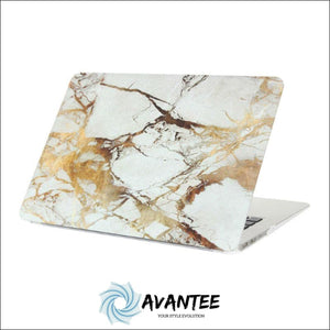 Marble Pattern Hard Case Protective Shell Cover For Apple Macbook Air 13.3 - Brownish White Marble---Pro 13.3 Inch - Laptops