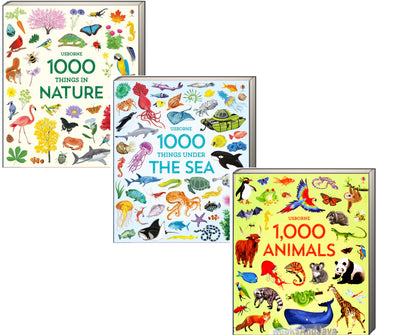 Usborne 1,000 Pictures : 1,000 Things in Nature, 1,000 Things Under the Sea, 1,000 Animals