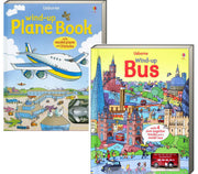 Usborne Wind-Up Books : Wind-Up Plane Book and Wind-Up Bus Book by Heather Amery  (2 board book set) NEW