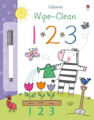 Usborne Wipe-Clean 123 by Stacey Lamb (Laminated Paperback with wipe-clean pen)