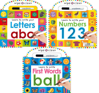 Wipe Clean Learning Books :  Learn to Write Letters ABC, Learn to Write Numbers 123  and Learn to Write First Words Ball by Roger Priddy (3 Board Books with Erasable Pen)