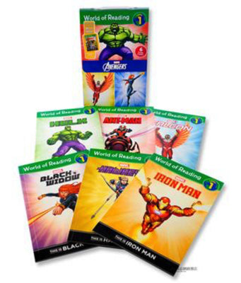 World of Reading : Level 1 : Marvel Avengers : Hulk, Black Widow, Iron Man, Ant-Man, Hawkeye, Falcon (Box Set, 6 Paperbacks)