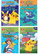 Scholastic Readers : Level 2 :  Pokemon : The Great Pancake Race, Welcome to Alola, Go, Popplio and Play Ball, Pikachu! by Scholastic (4 Paperback Books with stickers)