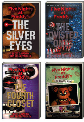 Five Night At Freddy's The Silver Eyes, The Twisted Ones, and the Fourth Closet and Five Nights at Freddy's The Freddy Files by Scott Cawthon and Kira Breed-Wrisley (4 Paperback Book Set)
