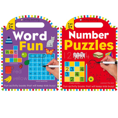 Priddy Learning : Word Fun & Number Puzzles by Roger Priddy Books (2 Paperback Book Set)