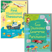 Usborne First Illustrated Grammar and Punctuation and The Usborne First Illustrated Thesaurus Illustrated Thesaurus by Jane Bingham & Carolyn Young  (2 Flexcover Book Set)