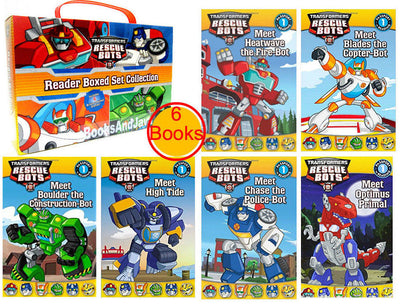 Transformers Rescue Bots Reader Boxed Set Collection : Meet Blades the Copter-Bot, Meet Optimus Primal, and Meet High Tide...