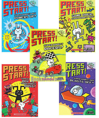Press Start : Books 1-5 : Game Over, Super Rabbit Boy!, Super Rabbit Boy Powers Up!, Super Rabbit Racers, Super Rabbit Boy vs. Super Rabbit Boss, Super Rabbit Boy Blasts Off! by Thomas Flintham (5 Paperback Book Set)