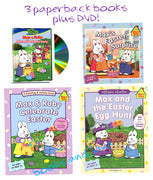 MAX & RUBY EASTER 4 PACK -  Max's Easter Surprise (8 x 8 storybook), Max and Ruby Celebrate Easter (coloring book), Max and the Easter Egg Hunt (sticker book), and Max and the Easter Bunny (DVD)