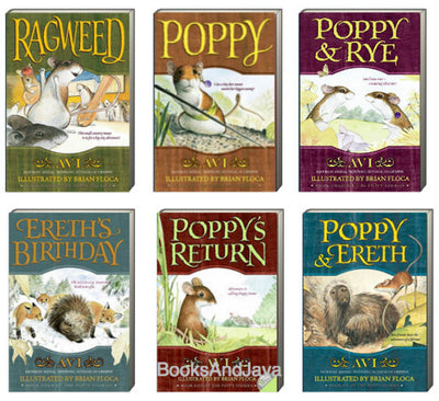 Ragweed, Poppy, Poppy & Rye, Ereth's Birthday, Poppy's Return, and Poppy & Ereth  by Avi (6 Paperback Book Set)