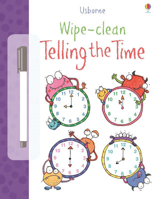 Usborne Wipe-Clean Telling the Time by Stacey Lamb (Laminated Paperback with wipe-clean pen)