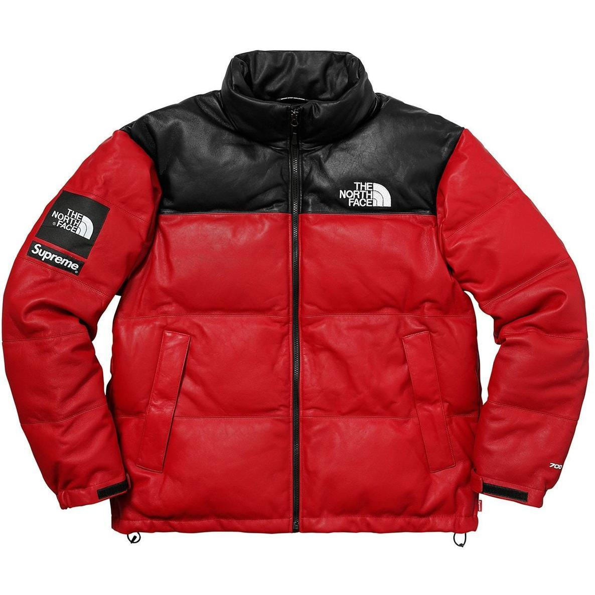 Supreme Men Outerwear Xl North Face Leather Nuptse Jacket Red