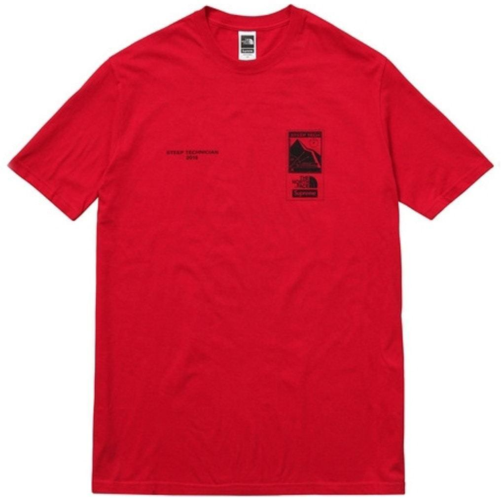 Supreme Men Tops Xl The North Face Steep Tech Tee Red