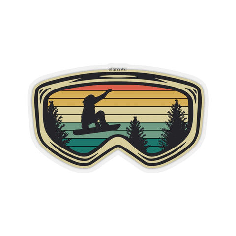 Snowboarder Jumping Sticker, Goggles Vintage Retro Mountain Boarding  Laptop Vinyl Waterbottle Tumbler Car Bumper Wall Mural Decal - Starcove Design